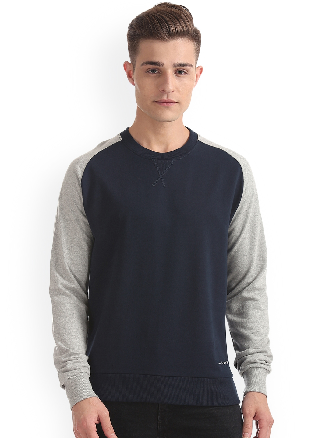 Arrow Blue Jean Co. Men Navy Blue   Grey Solid Sweatshirt