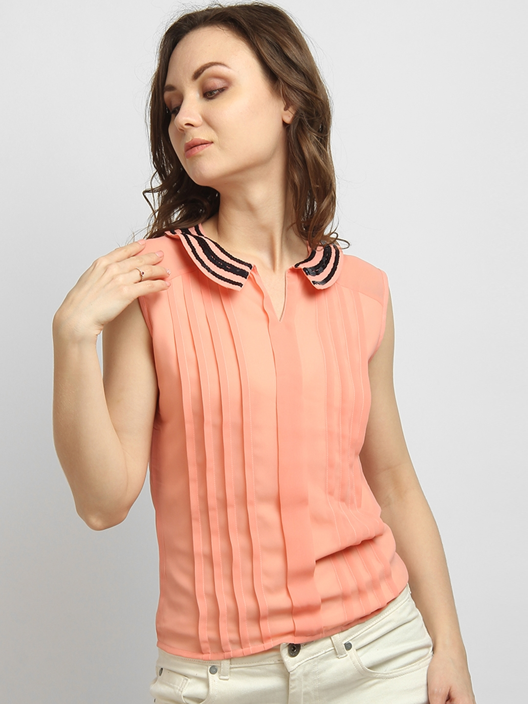 645cca533b Buy LA LOFT Women Peach Coloured Embellished Shirt Style Top - Tops ...