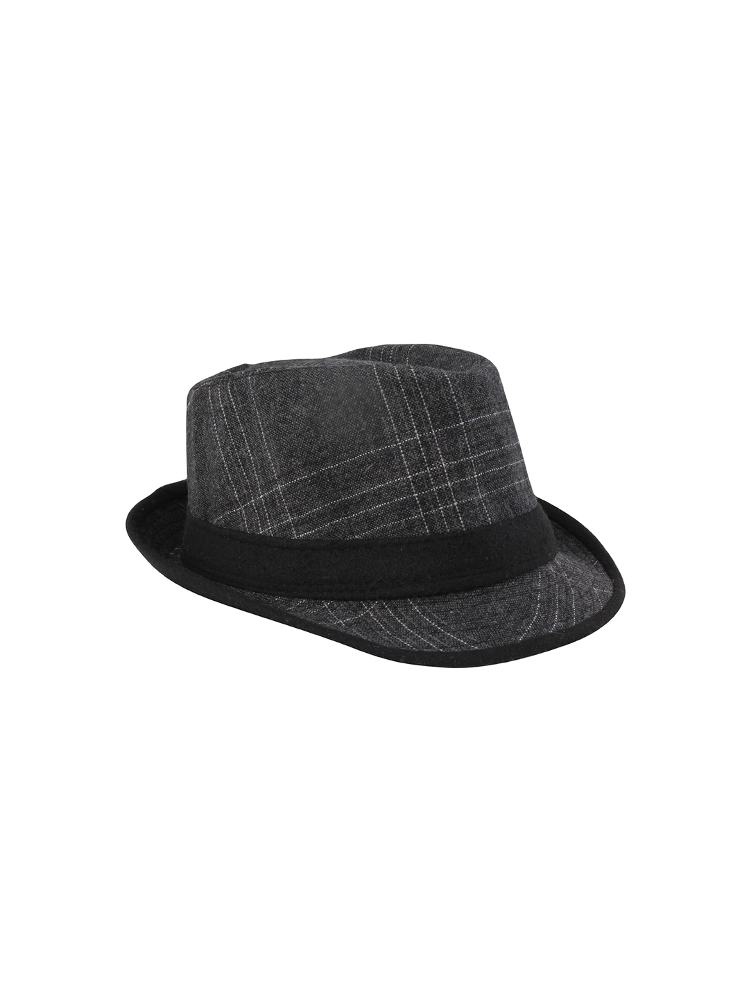 8eb32642ccb Buy FabSeasons Unisex Grey Checked Fedora Hat - Hat for Men 8773839 ...