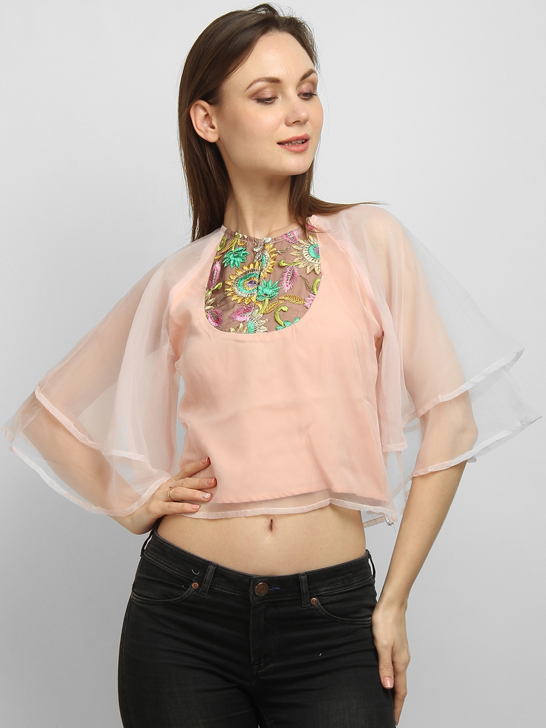 LA LOFT Women Pink Embroidered Flared Sleeves Crop Top