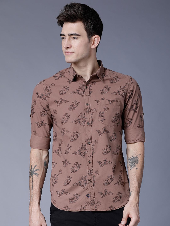 LOCOMOTIVE Men Brown   Black Slim Fit Printed Casual Shirt