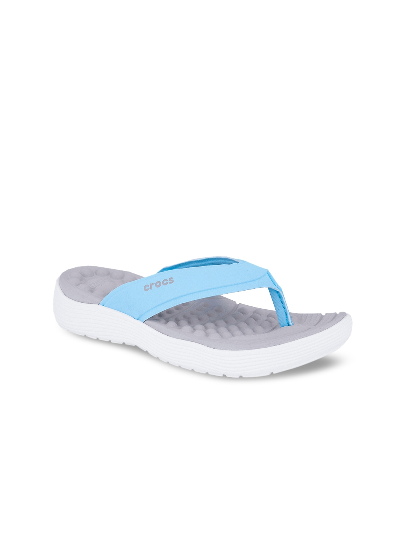 15ae0e48c3be Buy Crocs Reviva Women Blue   Grey Solid Flip Flops - Flip Flops for ...
