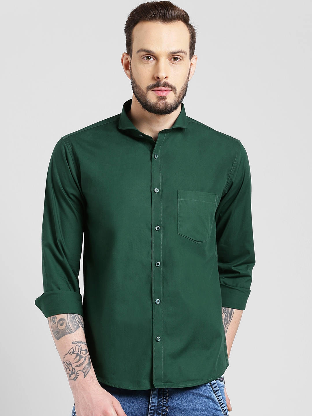 Being Fab Men Green Slim Fit Solid Casual Shirt