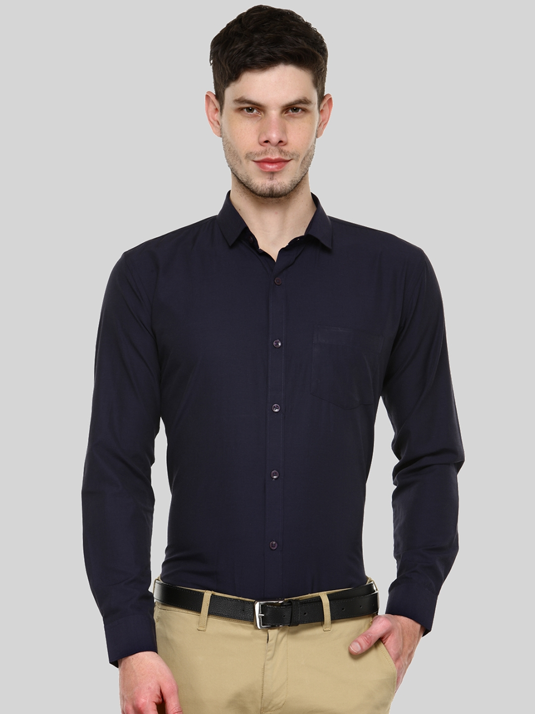 Being Fab Men Navy Blue Slim Fit Solid Casual Shirt