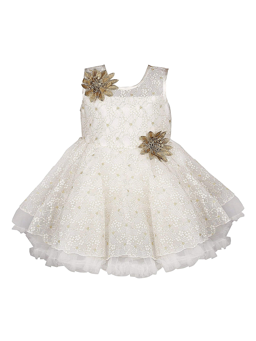 8b674f53a3a5 Buy Wish Karo Girls White Self Design Fit And Flare Dress - Dresses ...
