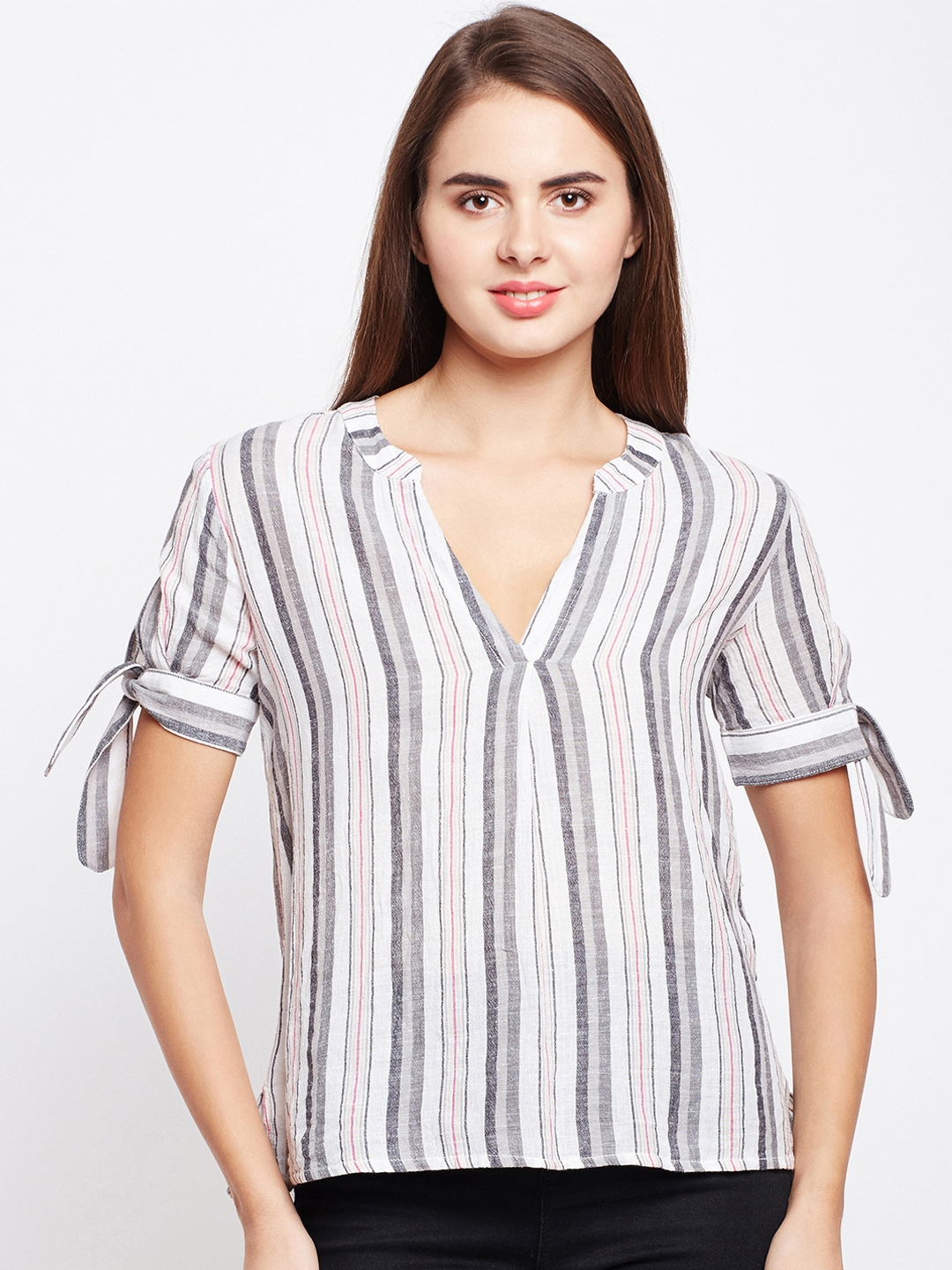 9b6afdf7e Buy Oxolloxo Women White & Grey Striped A Line Top - Tops for Women ...