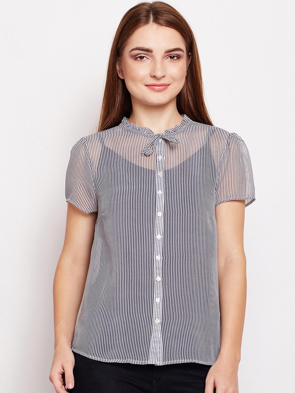 a8e31cf63 Buy Oxolloxo Women Black Striped Shirt Style Top - Tops for Women ...