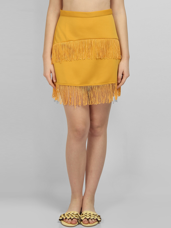 cde1e9f219 Buy LA LOFT Women Yellow Solid Straight Mini Skirt - Skirts for ...