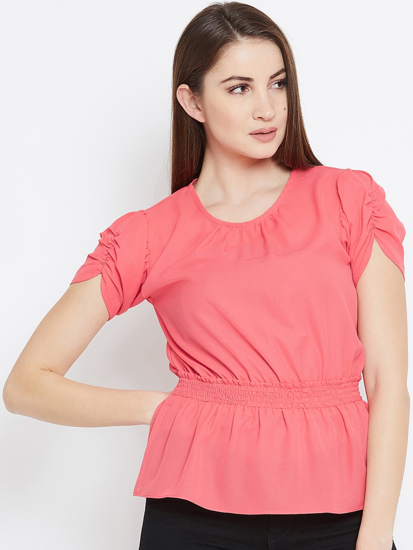 935afac0e4ac9 Buy Imfashini Women Pink Solid Cinched Waist Top - Tops for Women ...