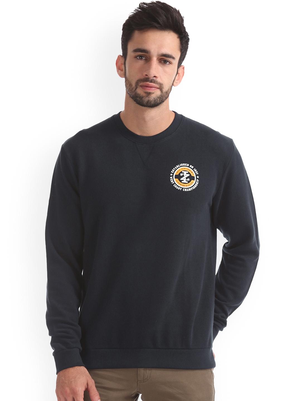 IZOD Men Navy Blue Solid Sweatshirt