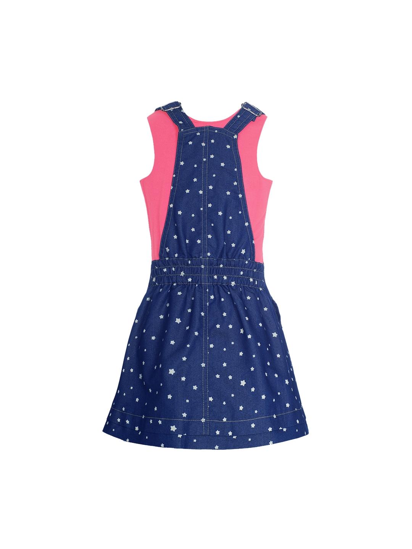 9c1cf4415cdea Buy Naughty Ninos Girls Blue Printed Pinafore Denim Dress With T ...