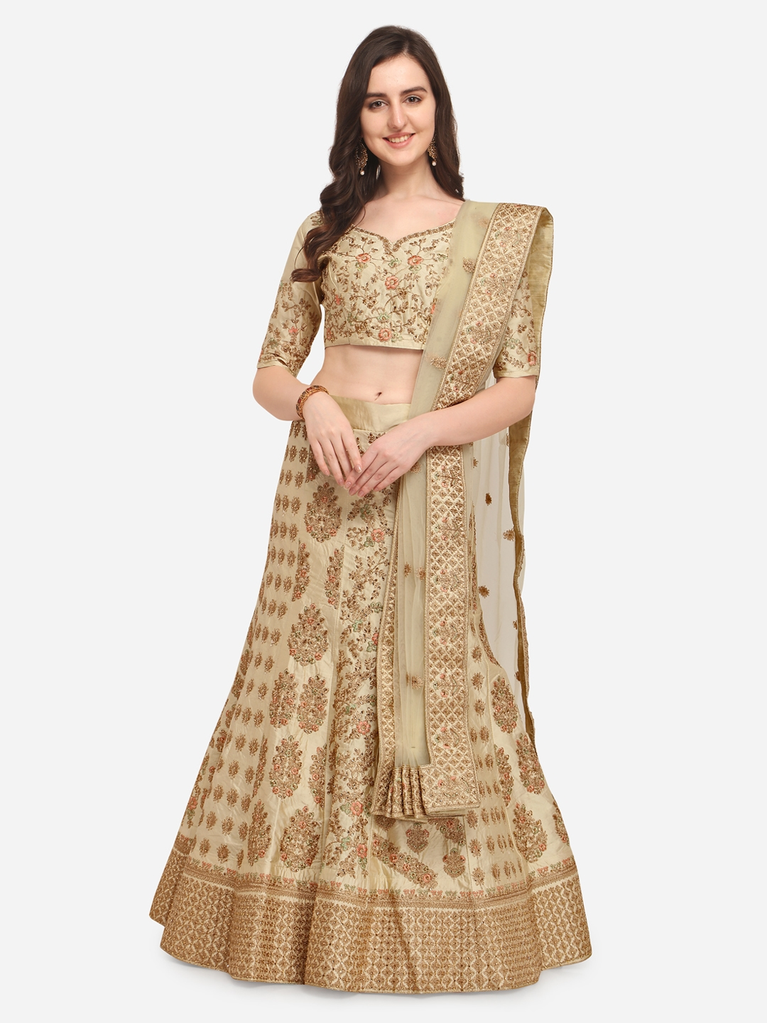 639de9e1ce7 Aasvaa Beige   Lime Green Embroidered Semi-Stitched Lehenga   Unstitched  Blouse with Dupatta
