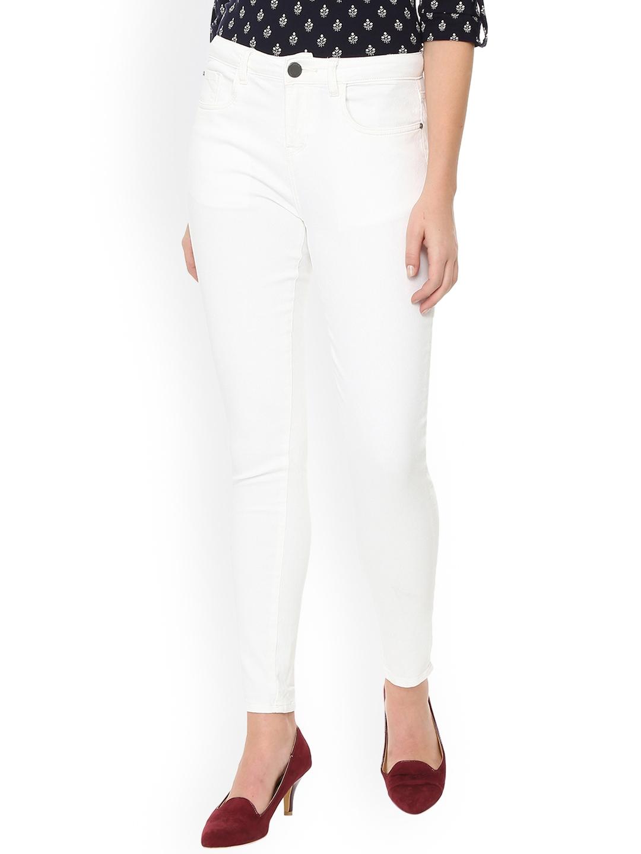 Van Heusen Woman White Skinny Fit Mid Rise Clean Look Jeans Van Heusen Woman Jeans