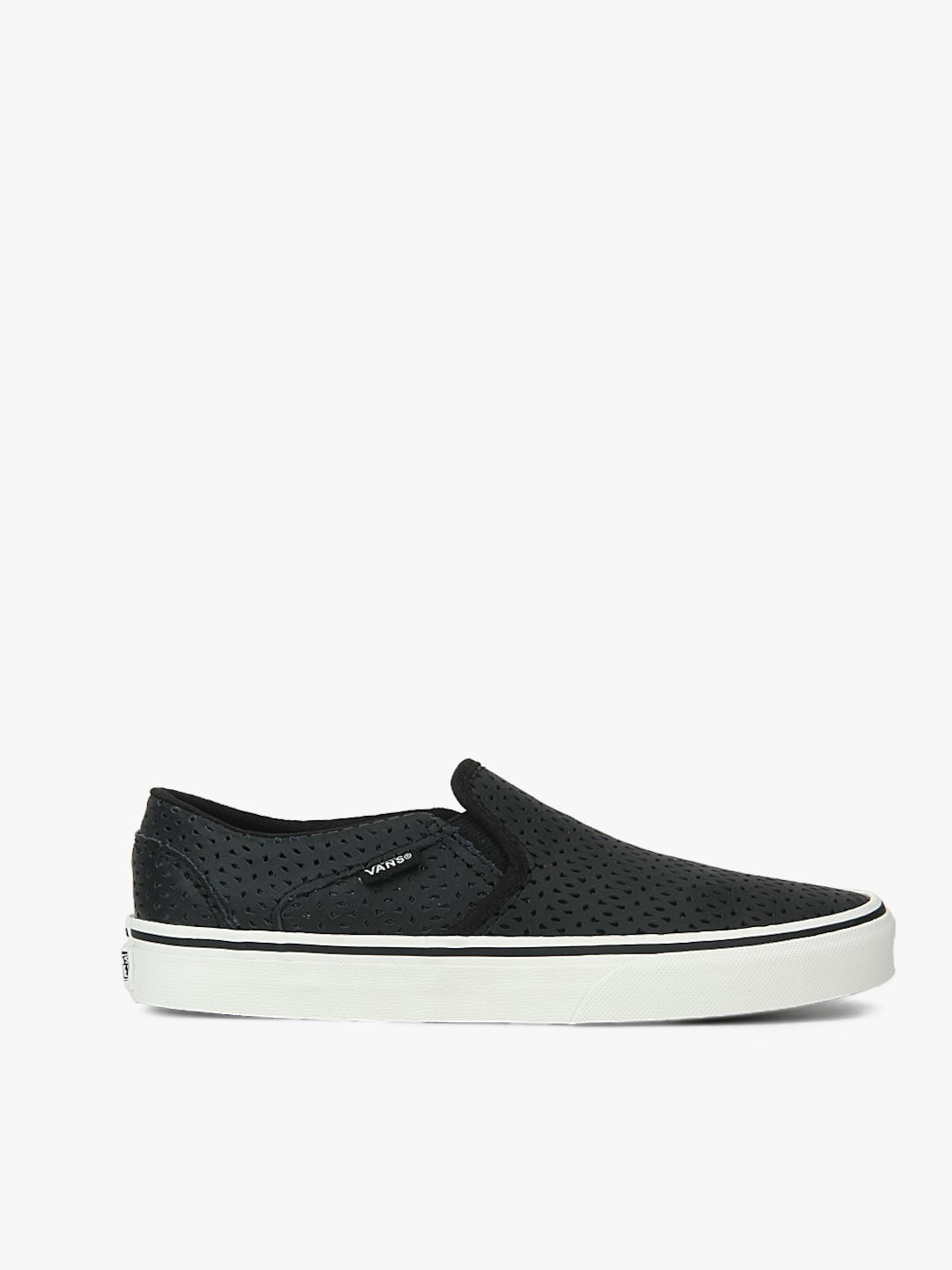 5a8bece3a5 Buy Vans Women Black Asher Leather Slip On Sneakers With Cut Outs ...