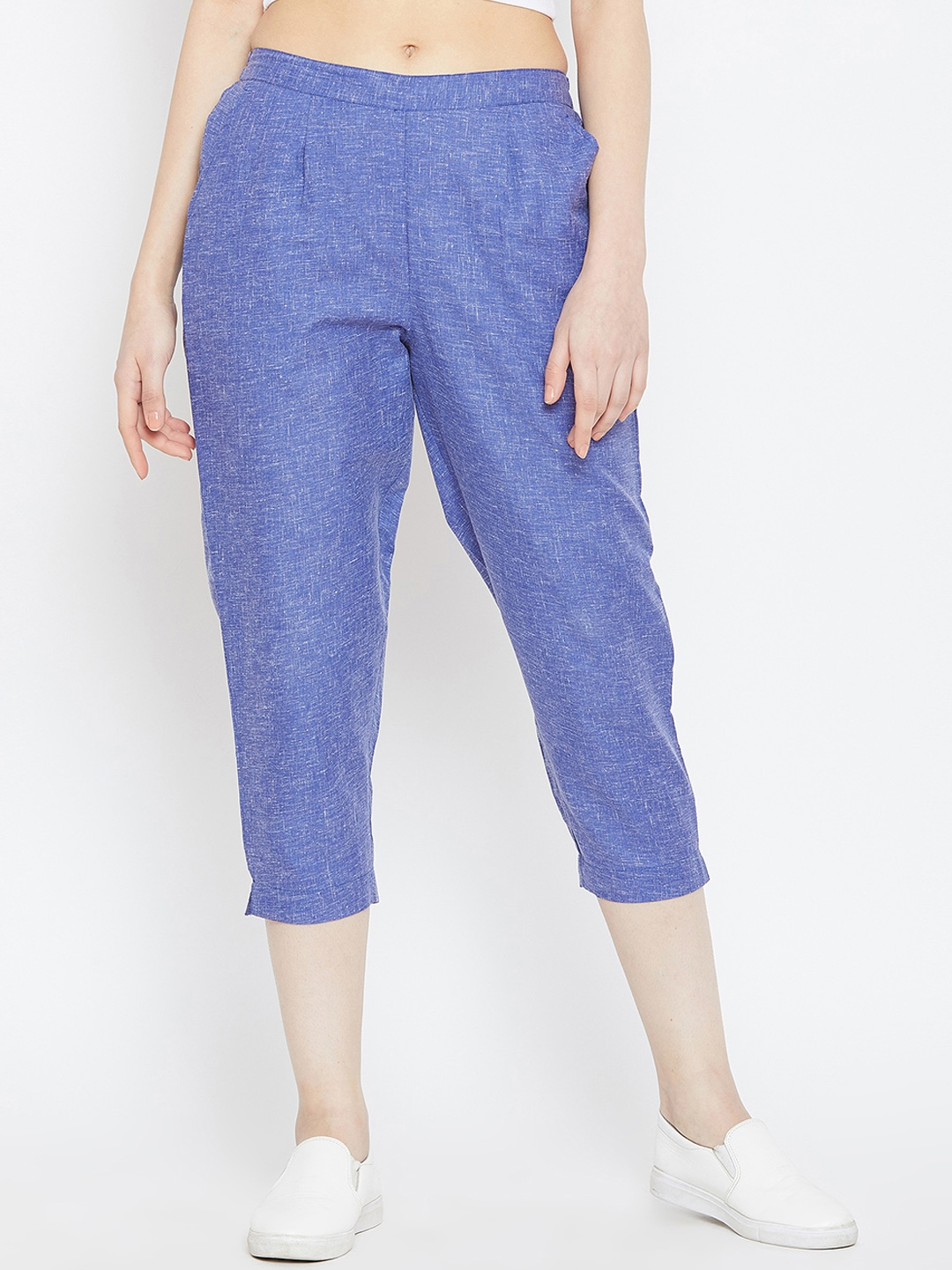 Bitterlime Women Blue Relaxed Regular Fit Self Design Cigarette Trousers
