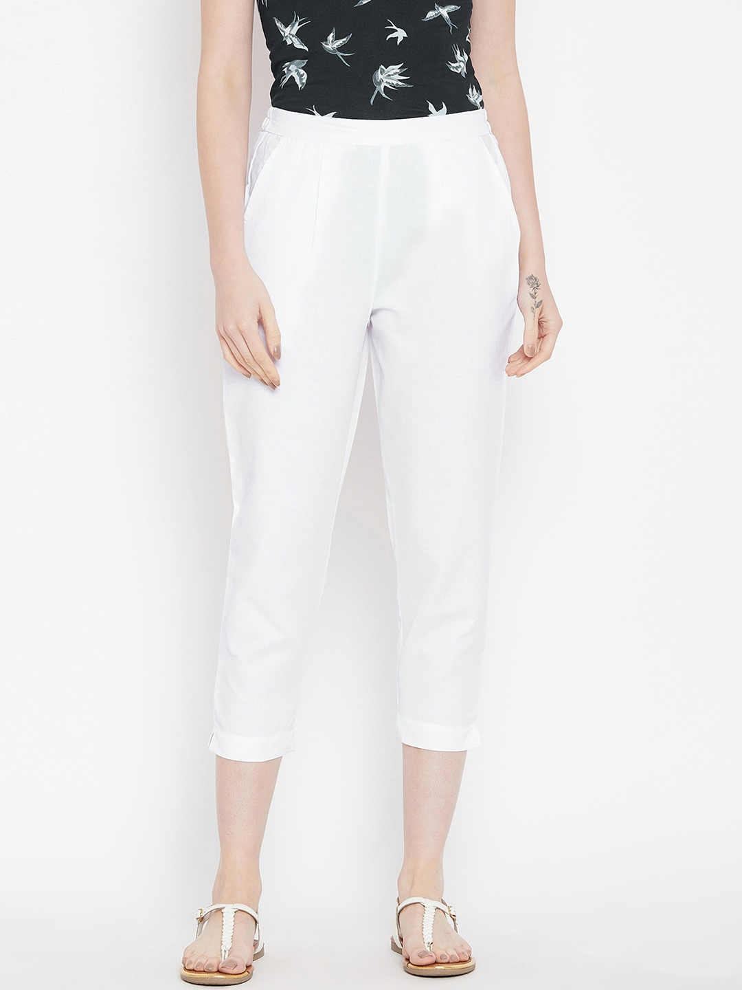 Bitterlime Women White Relaxed Regular Fit Self Design Cigarette Trousers