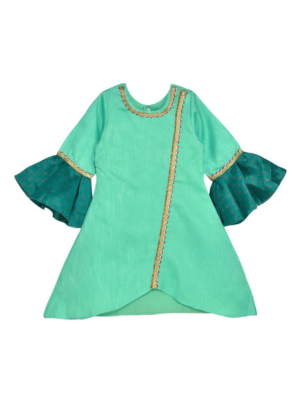 K U Girls Sea Green Solid A Line Kurti K U Kurtis