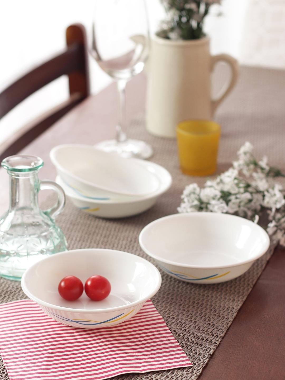 Corelle Set of 6 White Printed Glass Bowls Set