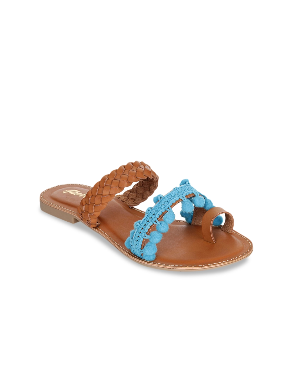 Aber   Q Women Tan Brown   Blue Colorblocked One Toe Flats