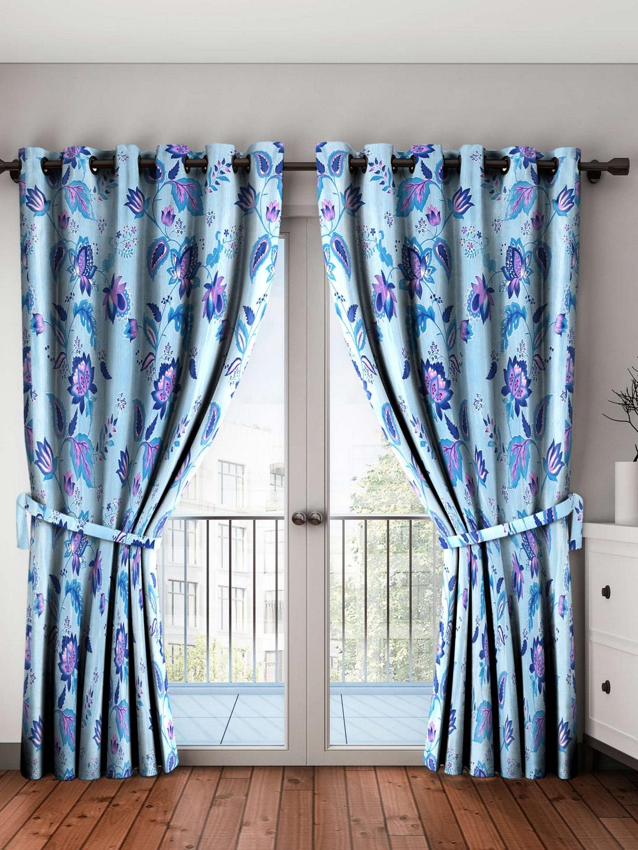 Home Sizzler Set Of 2 Regular Floral Door Curtains