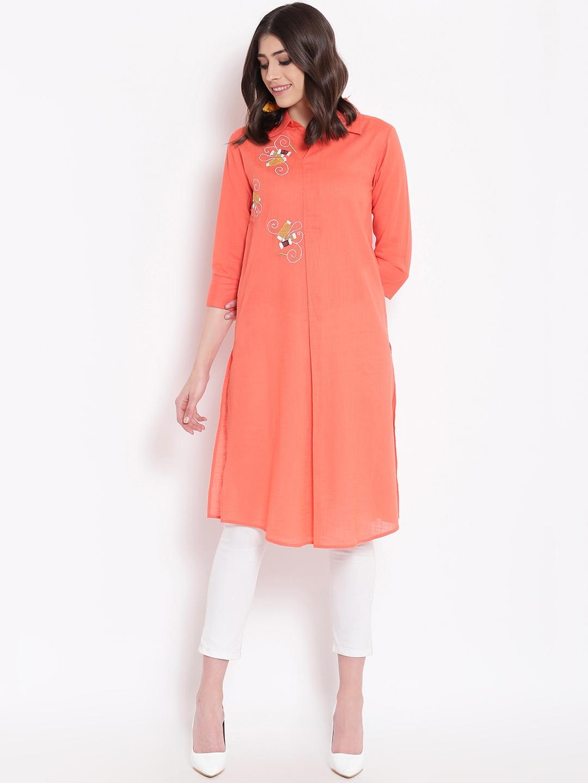 Buy Shakumbhari Orange Embroidered Tunic - Tunics for Women 8981625 ...