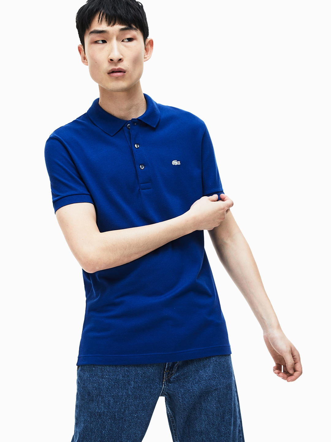 791b75c8 Buy Lacoste Men Blue Solid Polo Collar T Shirt - Tshirts for Men ...