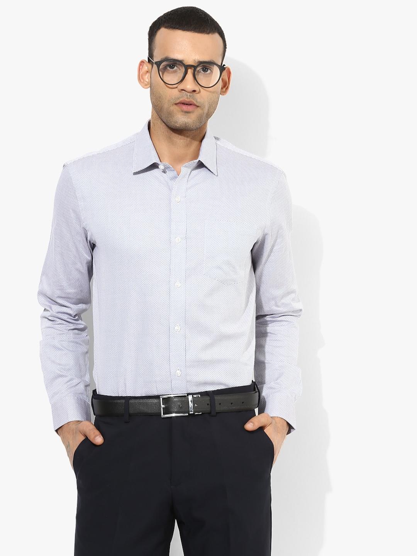 Arrow Light Men White   Blue Self Design Slim Fit Formal Shirt