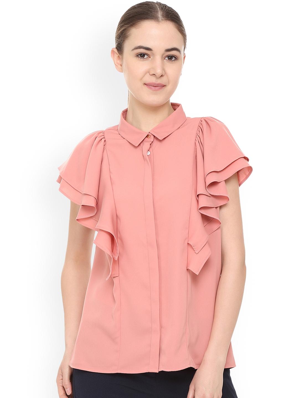 Van Heusen Woman Pink Regular Fit Solid Casual Shirt Van Heusen Woman Shirts