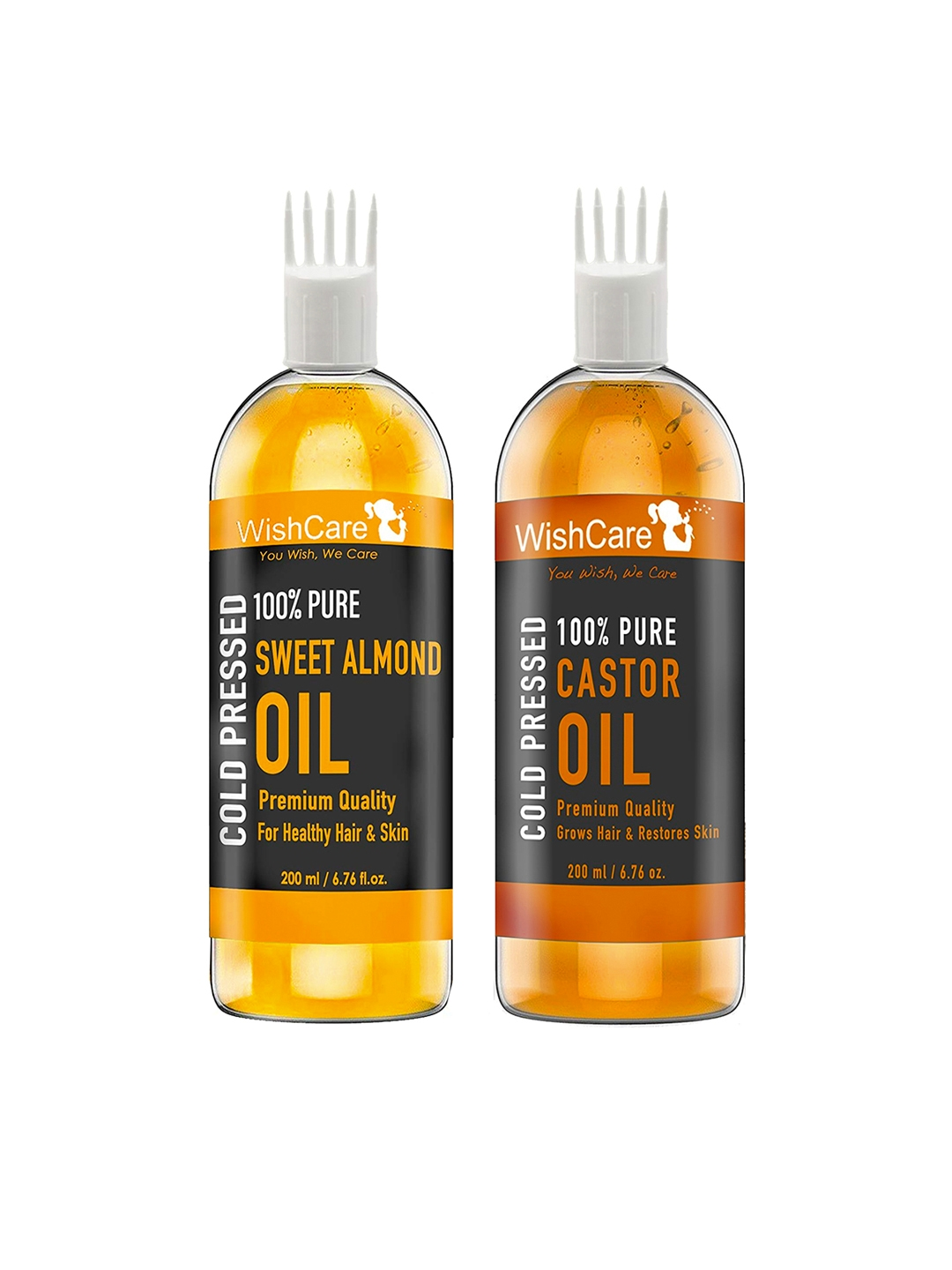 WishCare Unisex Combo of 100% Pure Castor Oil and Sweet Almond Oil 400 ml