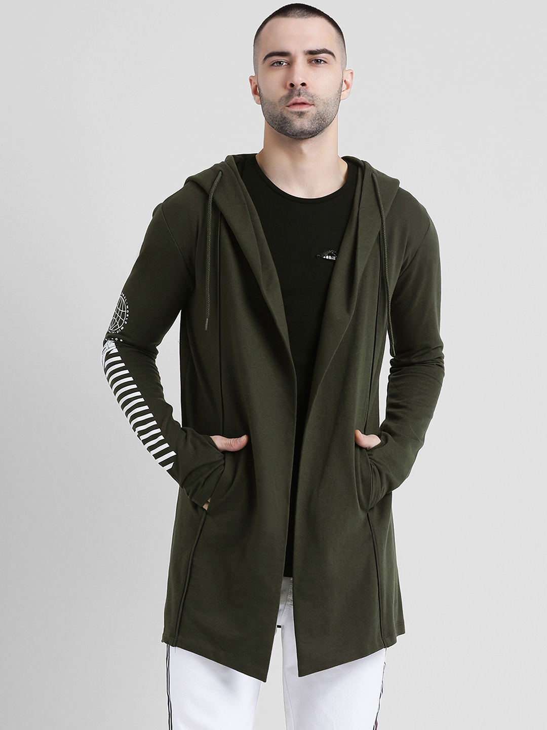 Tinted Men Olive Green Solid Open Front Jacket