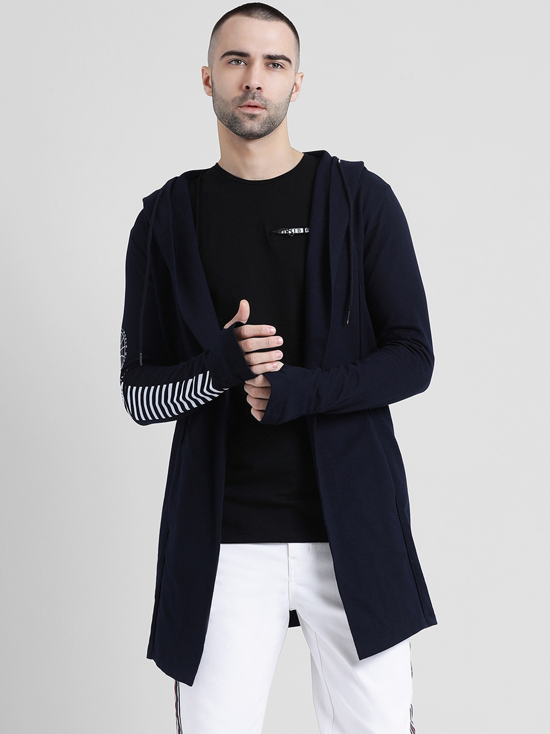 Tinted Men Navy Blue Solid Open Front Jacket
