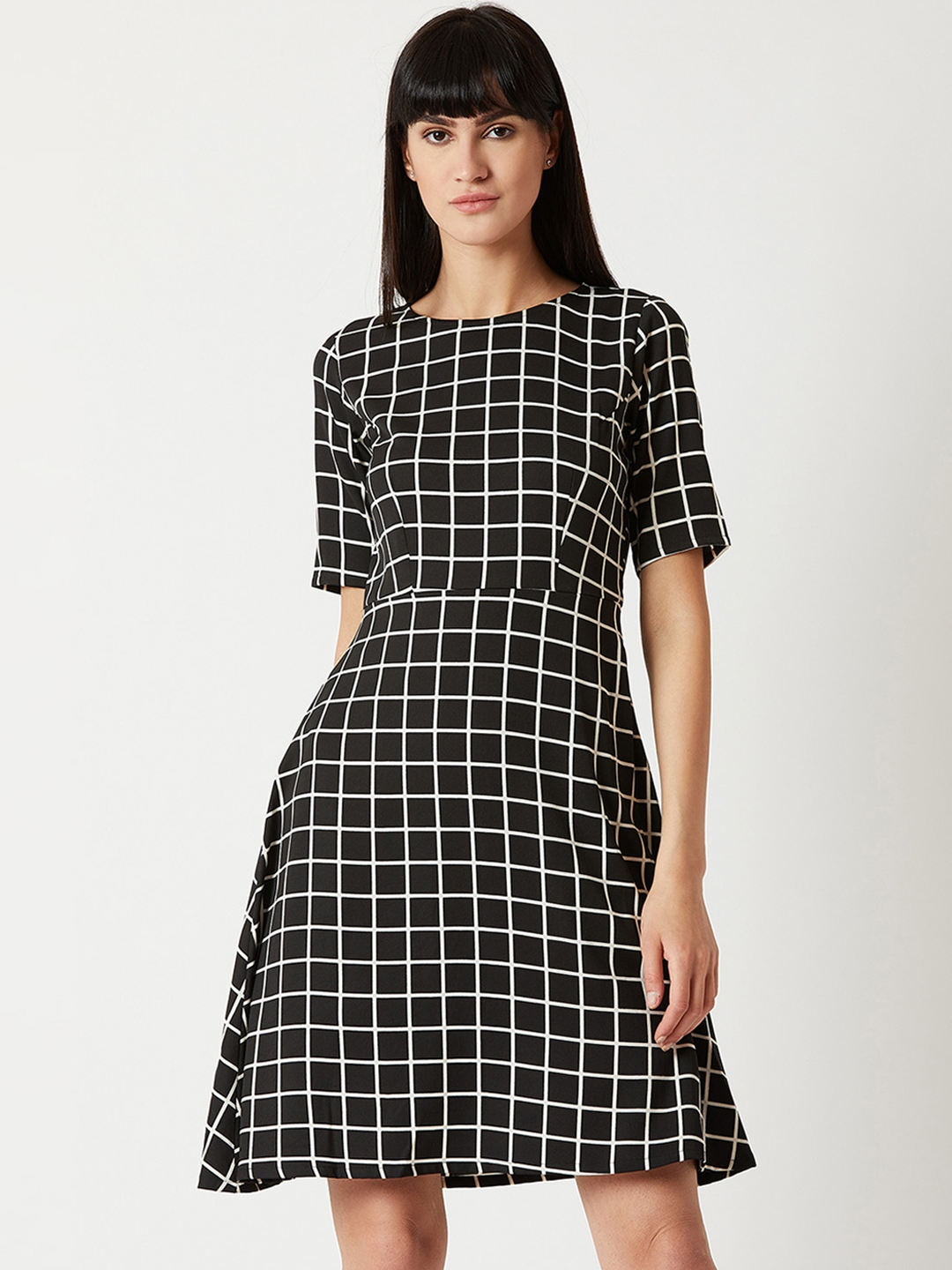 Miss Chase Women Black Checked A Line Dress