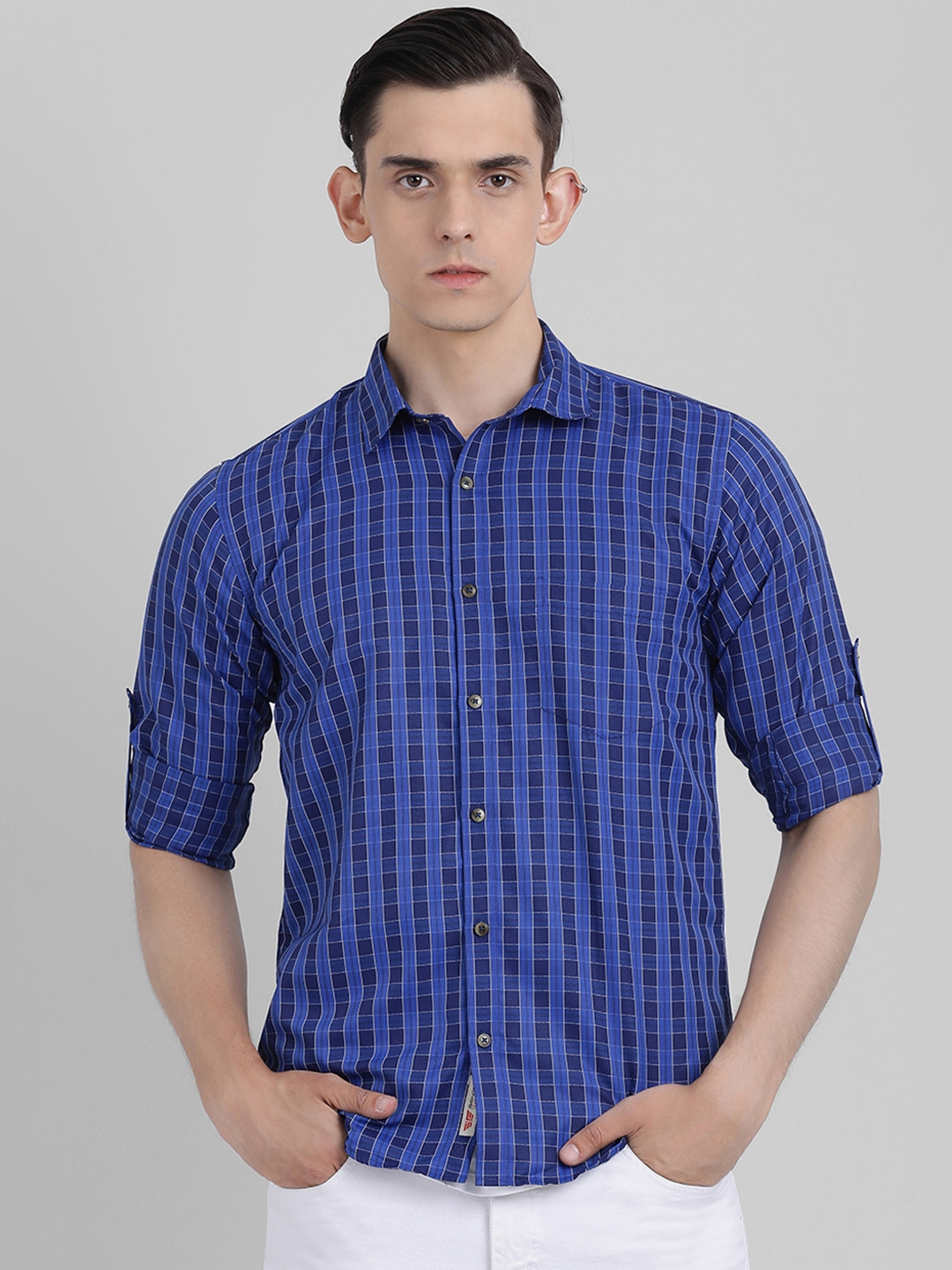 Being Fab Men Blue Slim Fit Checked Casual Shirt
