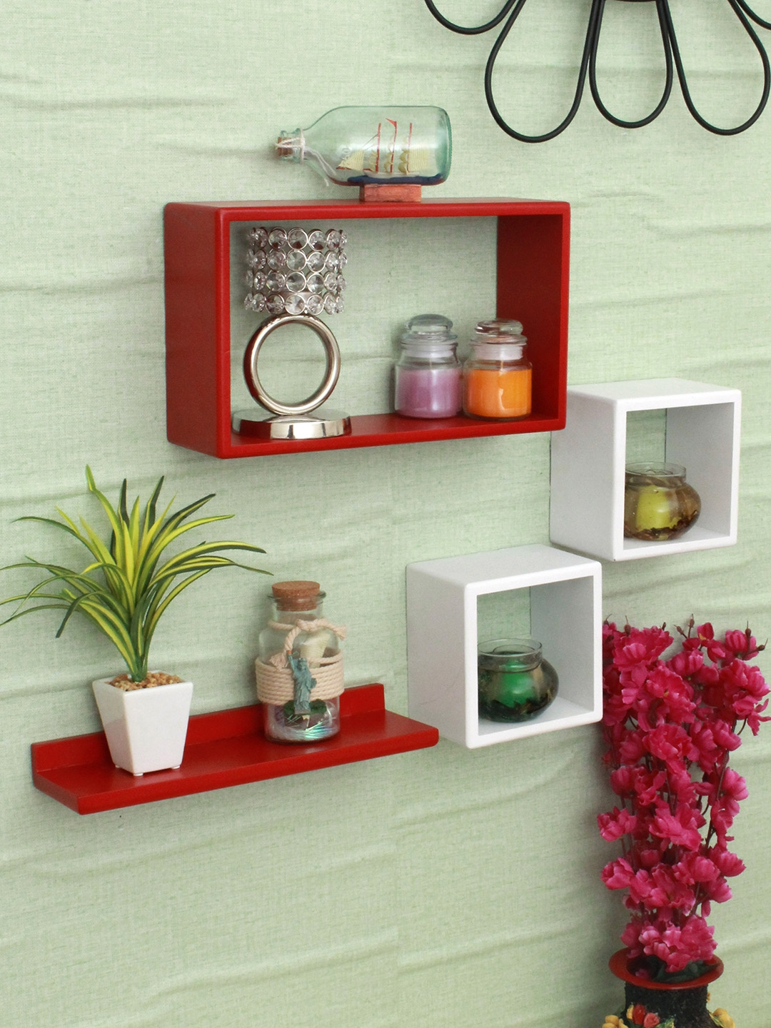 Home Sparkle Red   White MDF Set Of 4 Wall Shelves