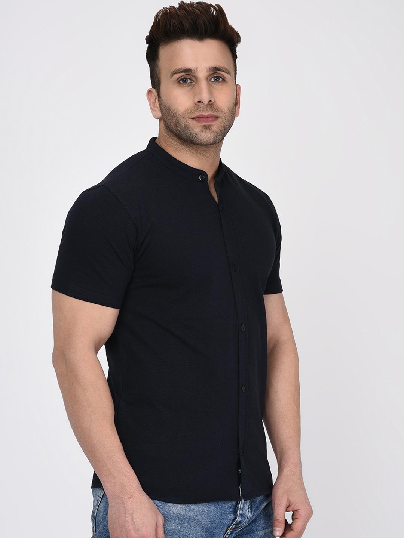 WILD WEST Men Navy Blue Regular Fit Solid Casual Shirt