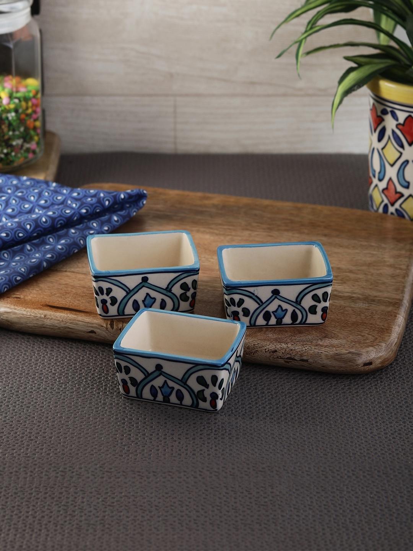 VarEesha Set of 3 Blue Printed Ceramic Bowls