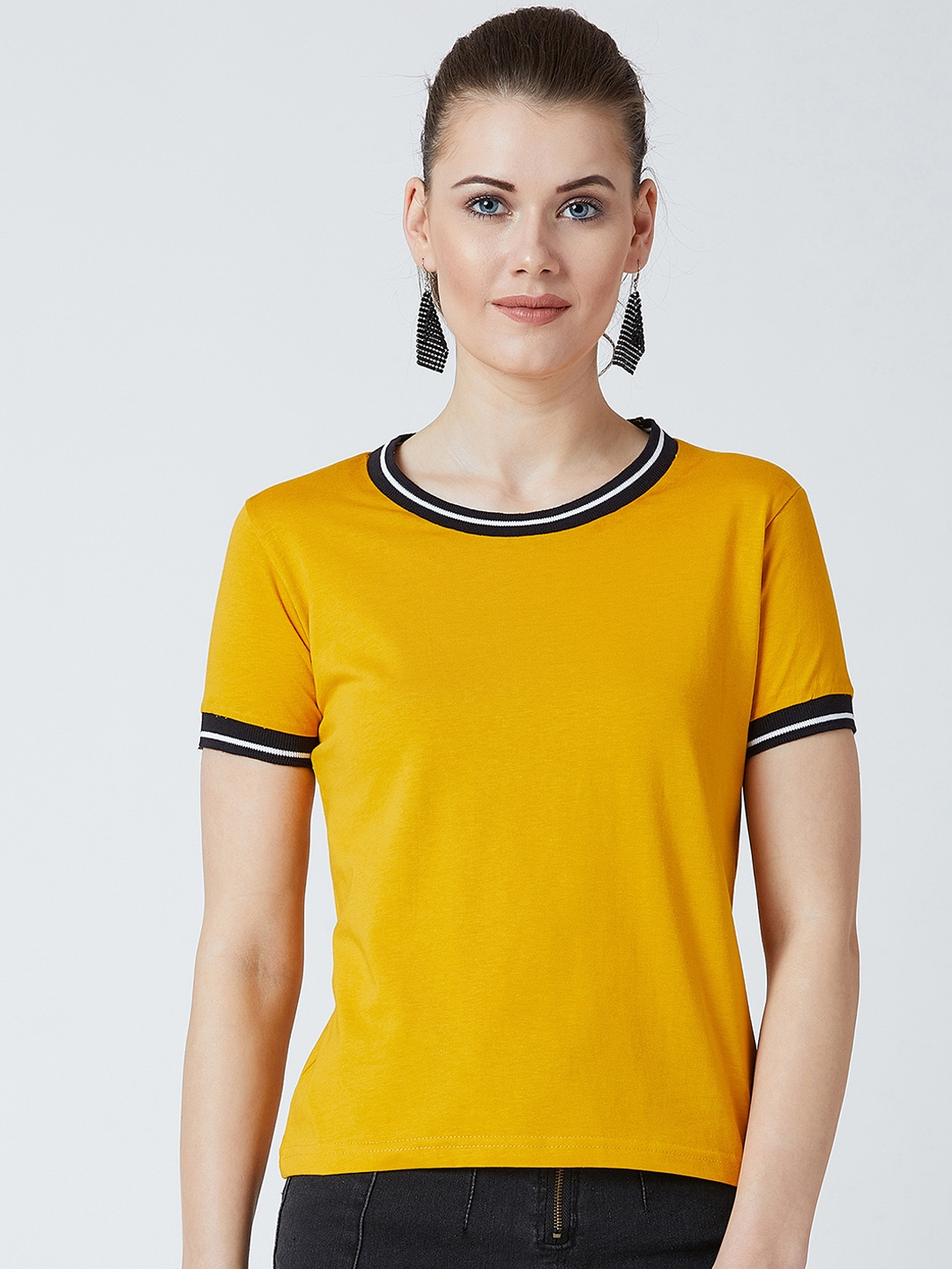The Dry State Women Yellow Solid Round Neck T shirt