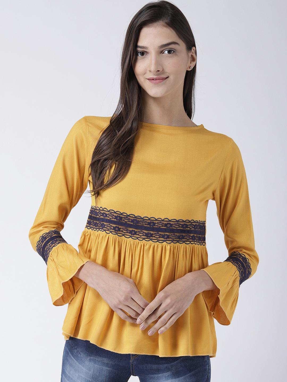 The Vanca Women Yellow Solid Peplum Top