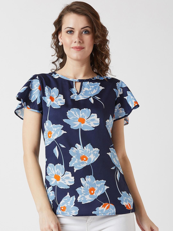 U F Women Blue Printed Top