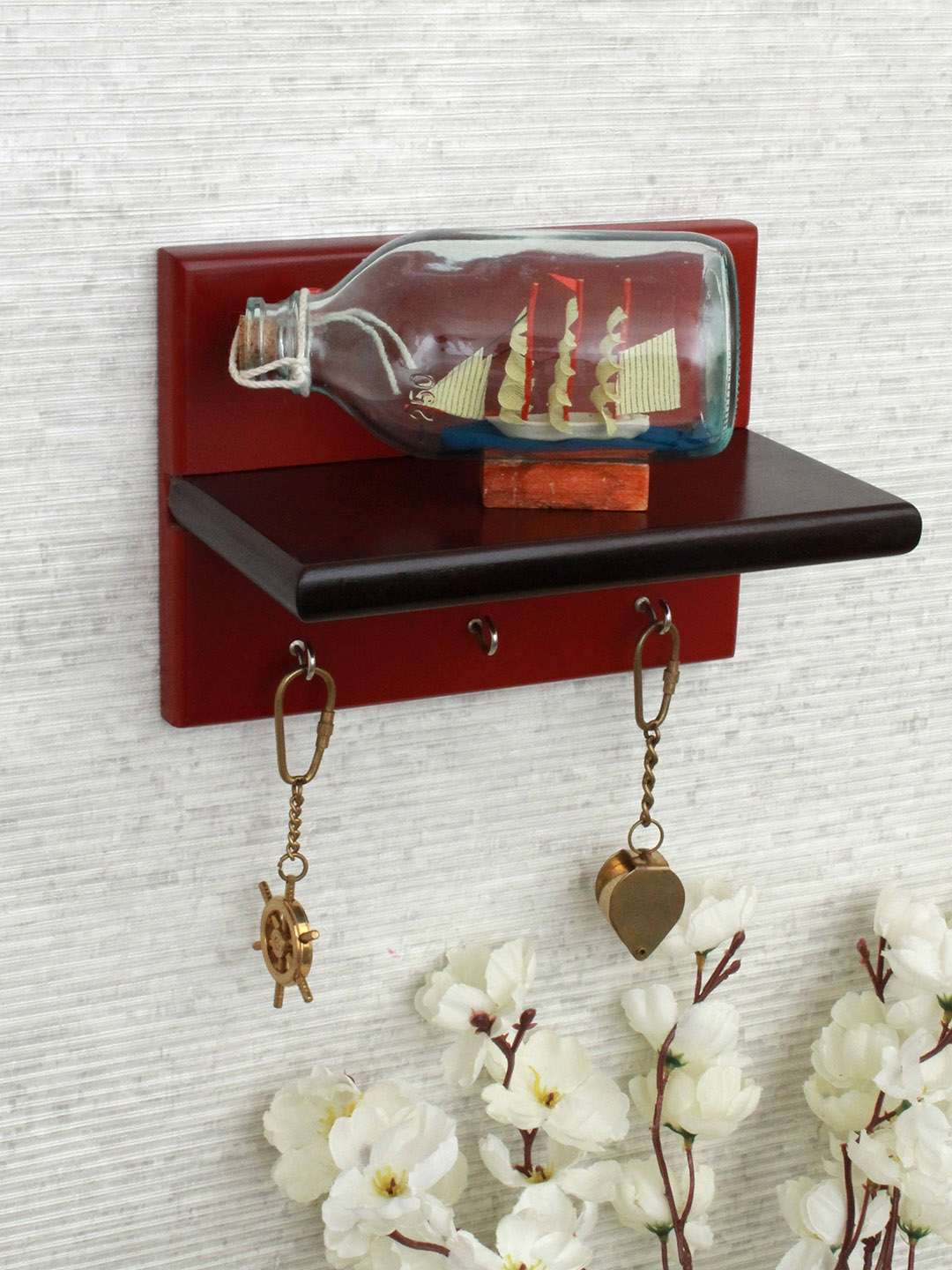 Home Sparkle Brown   Maroon MDF Wall Shelf with Key Holder