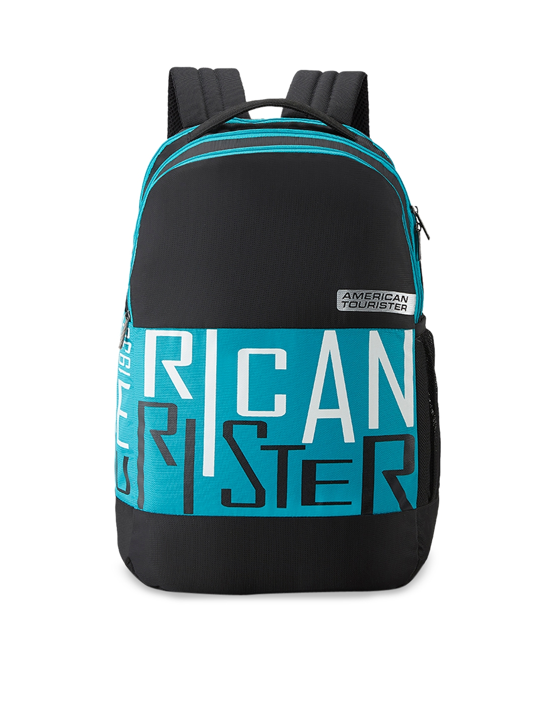 AMERICAN TOURISTER Unisex Black   Blue Typography Backpack