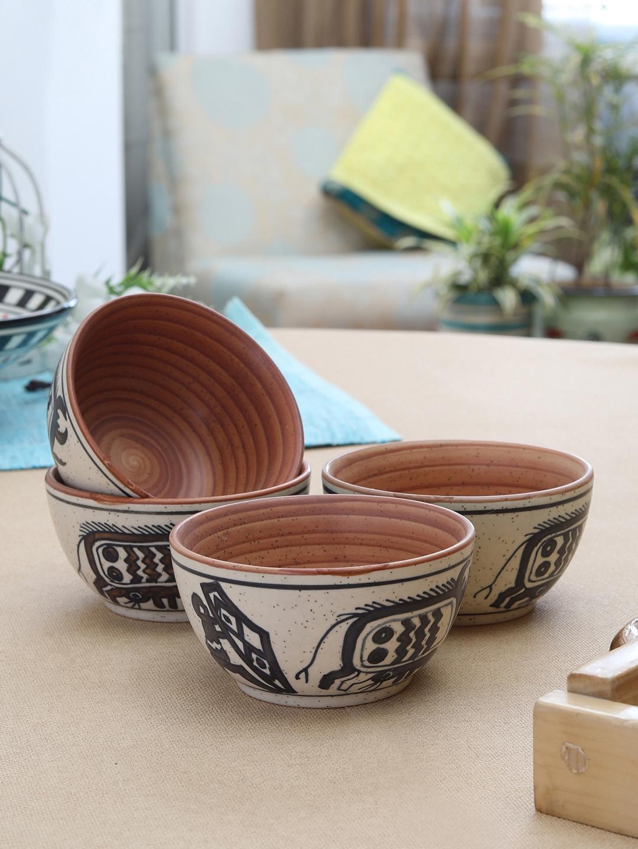 MIAH Decor Beige   Black Indian Art Printed Set of 4 Ceramic Bowls