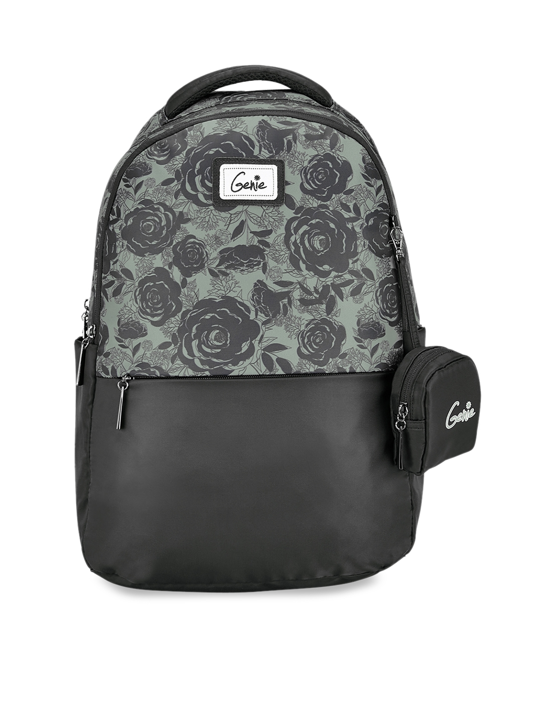 Genie Women Black   Grey Floral Print 17 inches Medium Laptop Backpack with Pouch