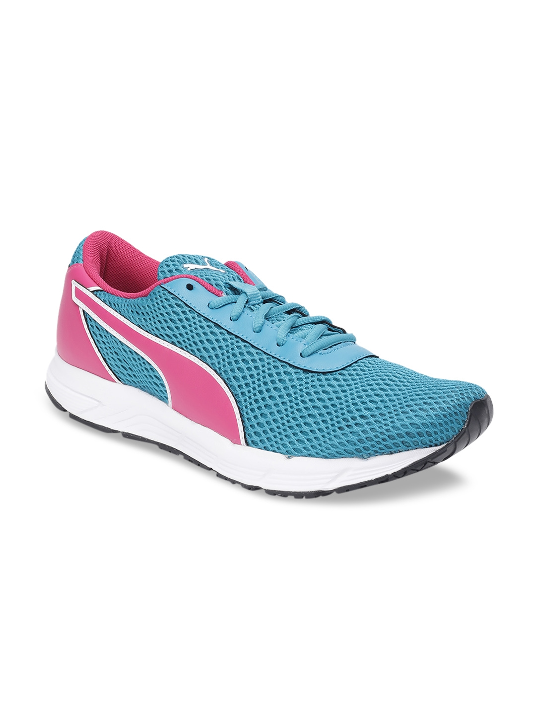 Puma Women Pink   Turquoise Blue Mesh Metal Knit IDP Wn s Running Shoes