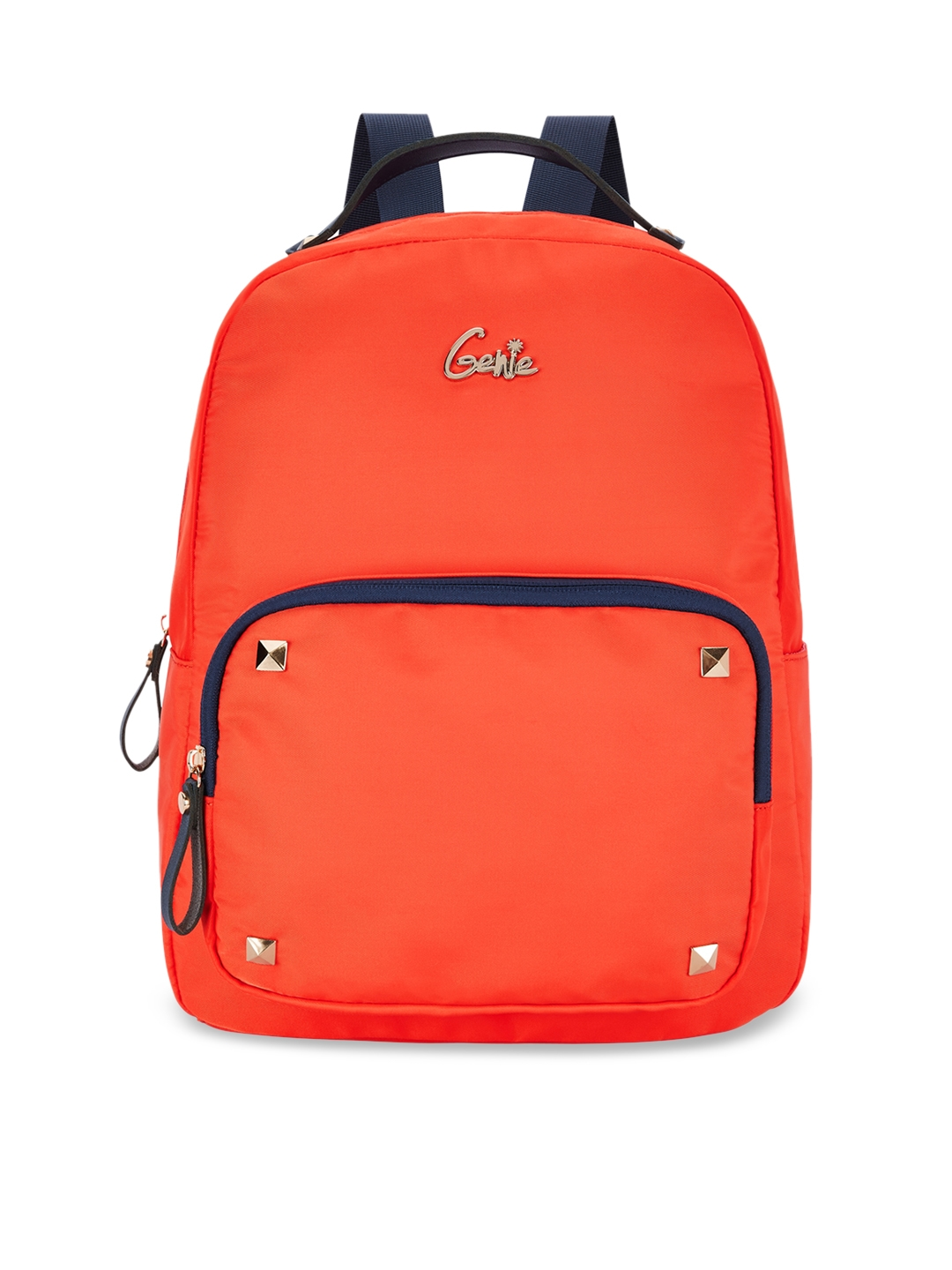 Genie Women Coral Orange 15 inches Solid Small Backpack