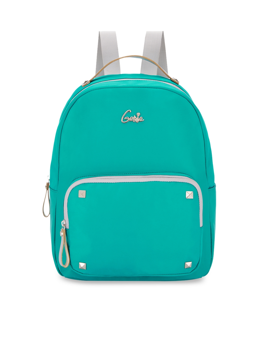 Genie Women Green 15 inches Solid Small Backpack