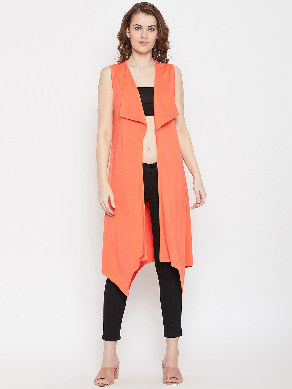 Hypernation Women Orange Solid Open Front Shrug