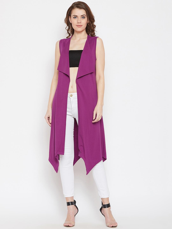 Hypernation Women Purple Solid Open Front Shrug