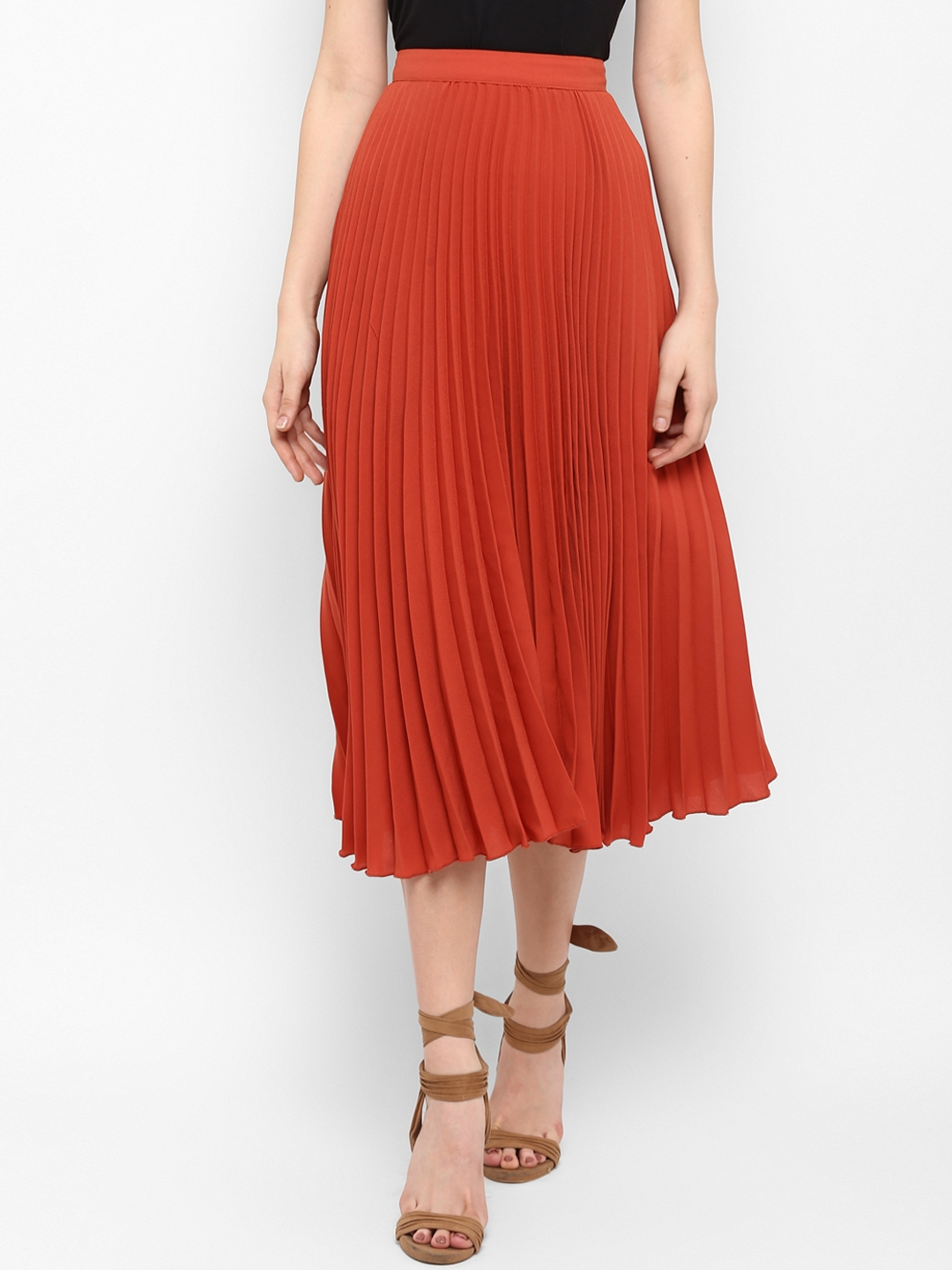 MIAMINX Women Rust Red Solid Pleated Skirt
