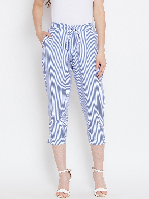 Bitterlime Women Blue Relaxed Regular Fit Striped Peg Trousers